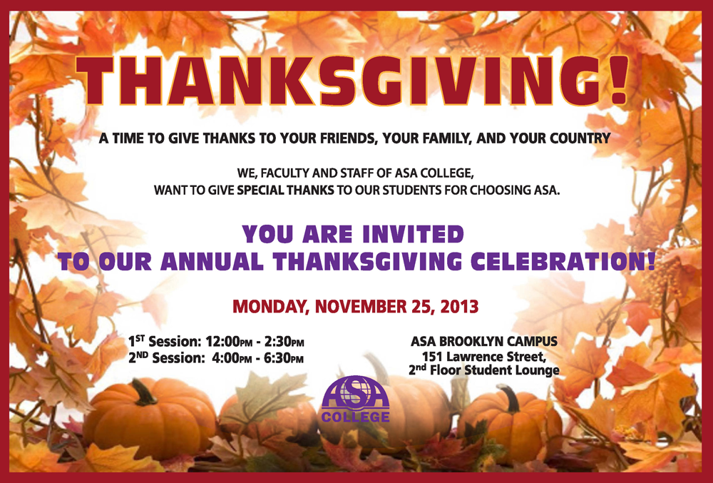 Thanksgiving Celebration at Brooklyn Campus
