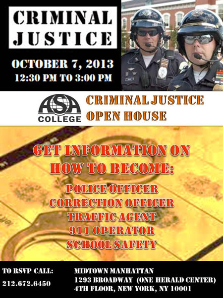 ASA College Criminal Justice Open House Flyer