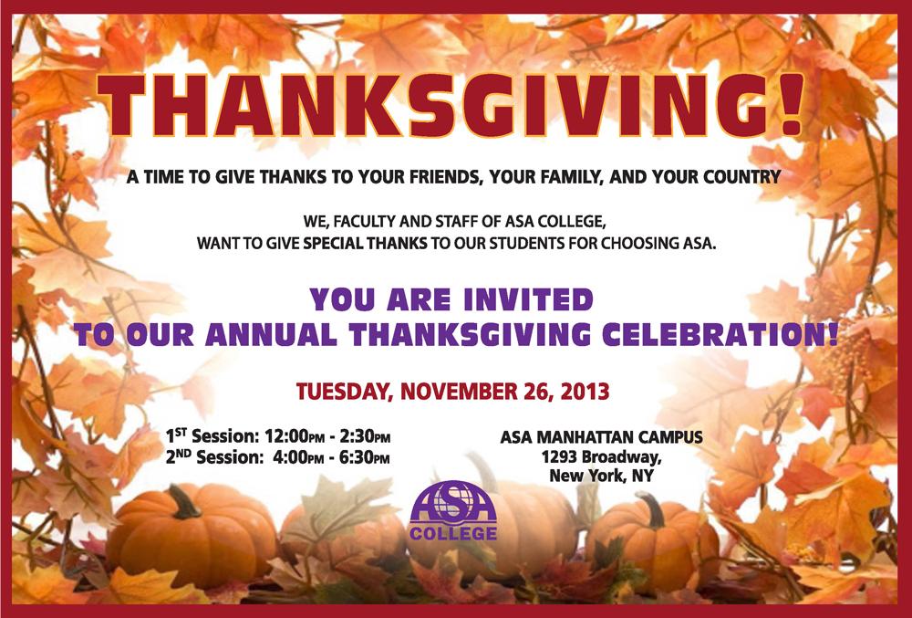 Thanksgiving Celebration at Manhattan Campus