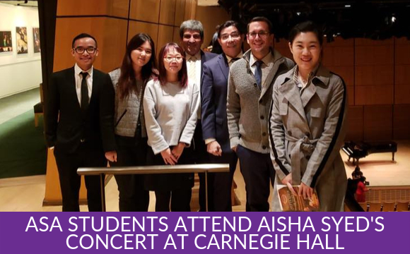 ASA students attend Aisha Syed's Concert at Carnegie Hall