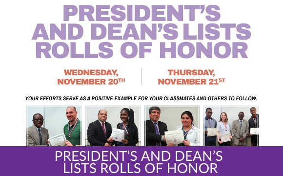 President's and Dean's Lists Rolls of Honor