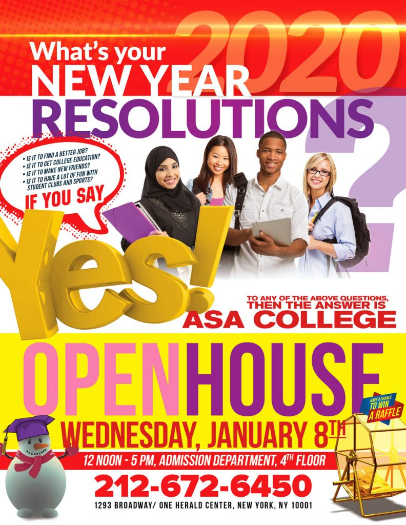 Open House - at ASA College Manhattan Campus - What's Your New Year Resolution?