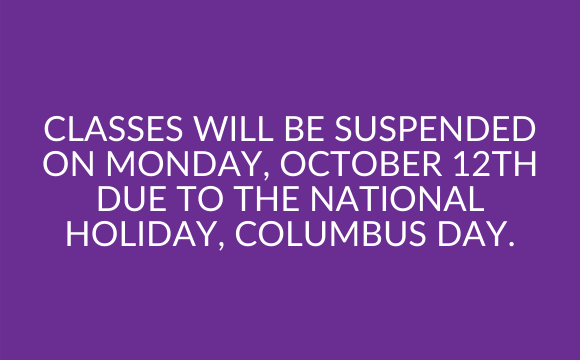 Classes suspended on Columbus Day