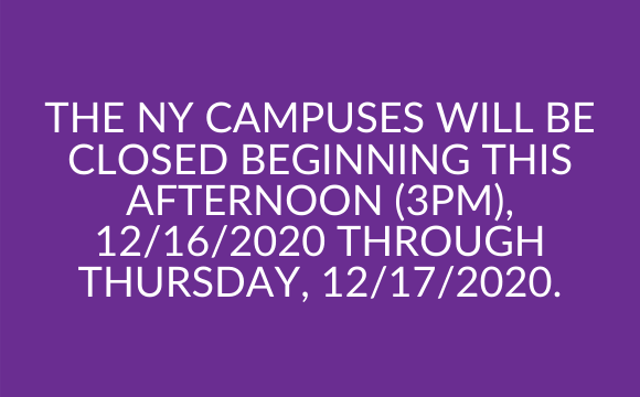 Winter Storm – The NY Campuses will be closed