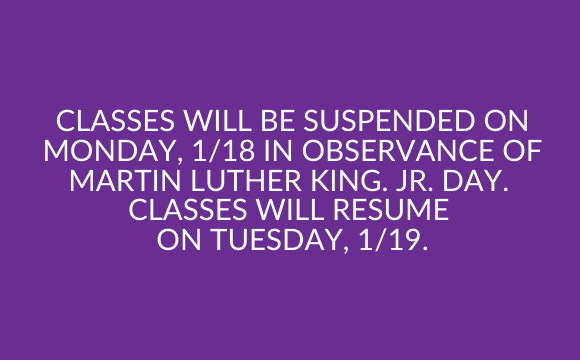 Classes are Suspended on Monday, 1/18
