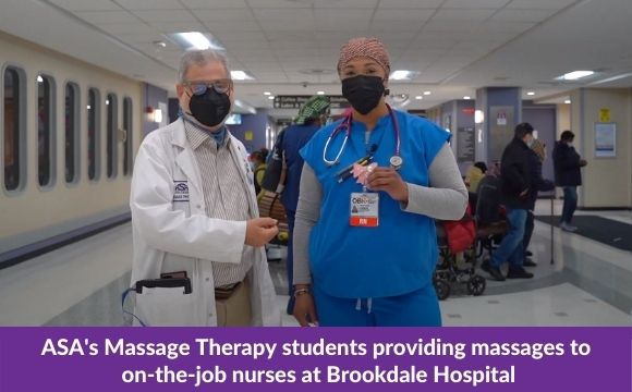 ASA's Massage Therapy students providing massages to on-the-job nurses at Brookdale Hospital
