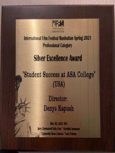 Plaque up close Silver Excellence Award Digital Marketing Director Director Denys Kapush