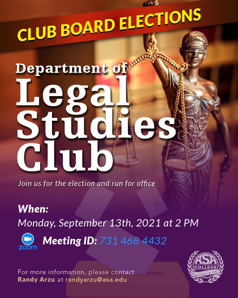 department of legal studies club board elections ASA College